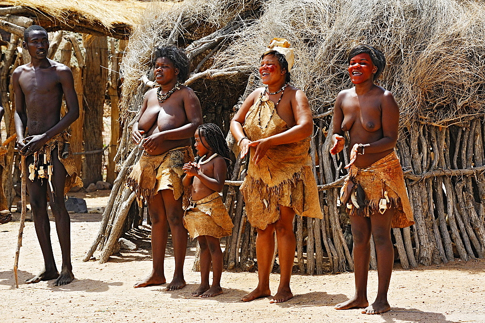 Dance of the native people, Damara Living Museum, near Twyfelfontein, Namibia, Africa