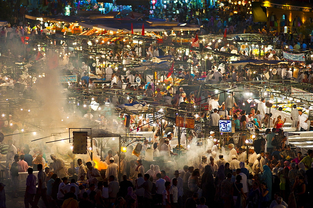 Food stalls in Djemaa el Fna square at night, Marrakech, Morocco, Africa