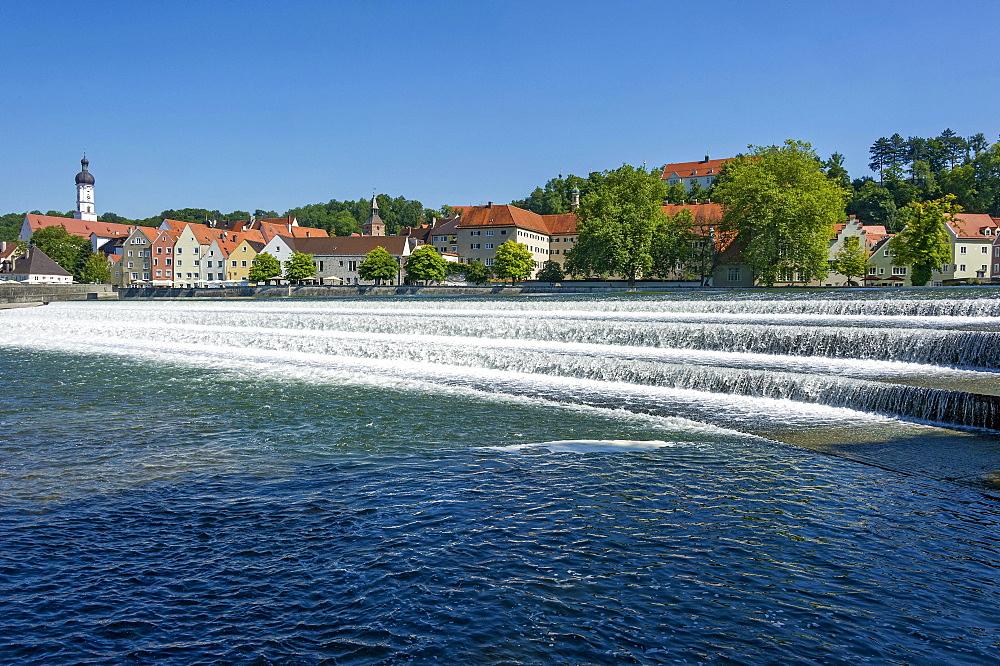 Lechwehr, weir on the Lech river, Landsberg am Lech, Upper Bavaria, Bavaria, Germany, Europe - 832-383285