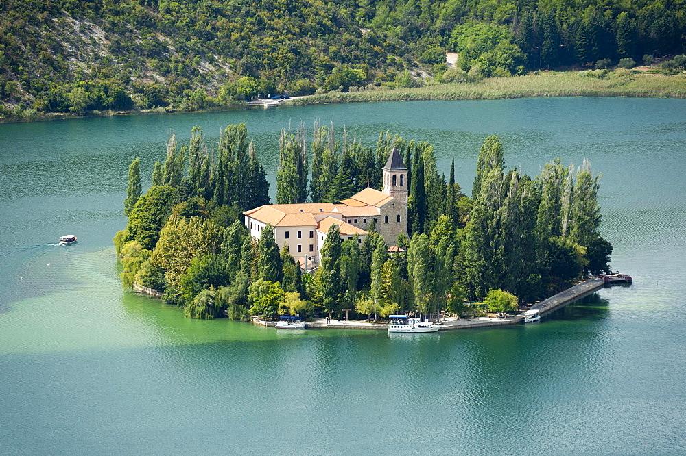 Visovac Monastery, Franciscan monastery, island of Visovac, Krka National Park, Sibenik-Knin County, Dalmatia, Croatia, Europe