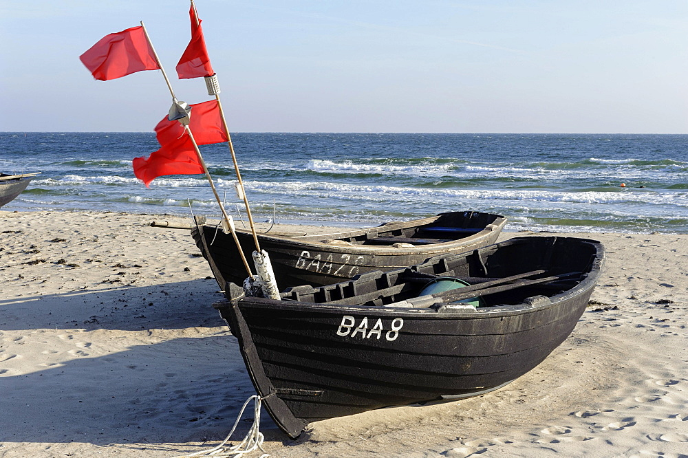 Boats on the beach of Baabe, Rugen, Mecklenburg-Western Pomerania, Germany, Europe