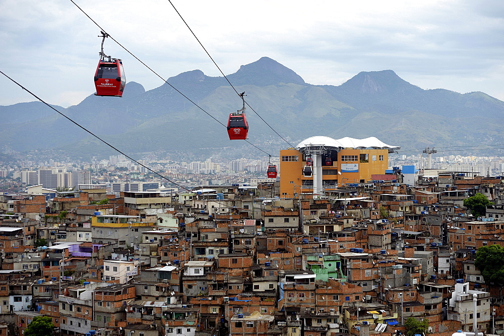 Complexo do Alemao favela, a cable car connects several built-up hills, Rio de Janeiro, Brazil, South America