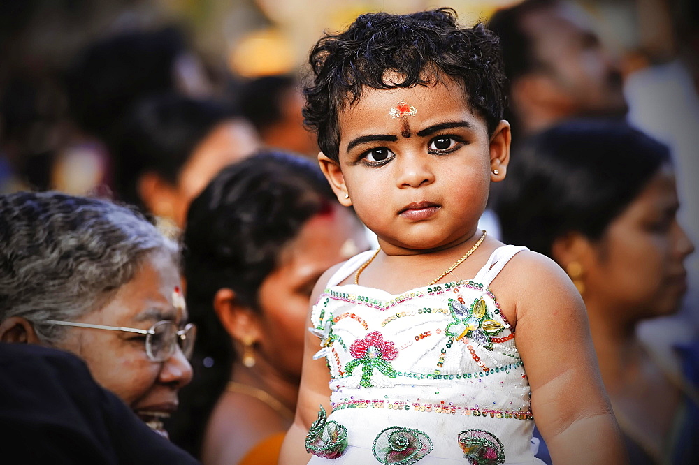 Girl at Hindu temple festival, Thrissur, Kerala, South India, India, Asia