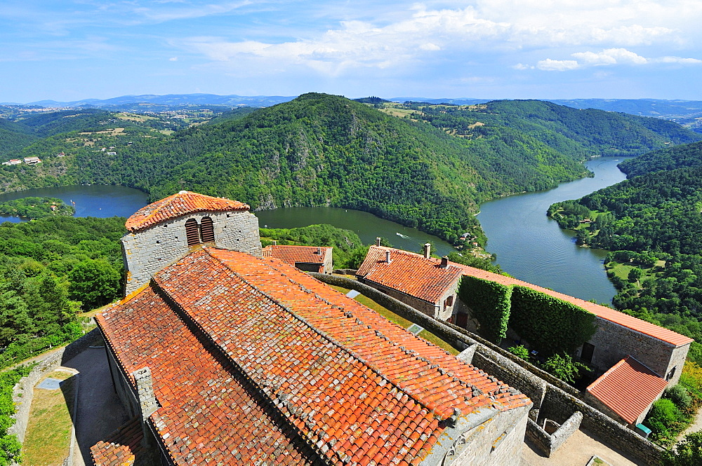 View of the roof of the medieval church and the River Loire, Chambles, Department Loire, Rhone-Alpes region, France, Europe - 832-383314