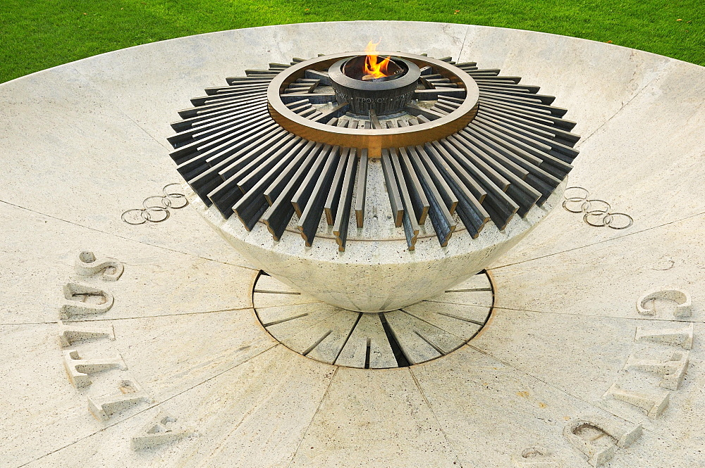 Constantly burning Olympic flame at the Museum Park, Olympic Museum, Lausanne, Canton of Vaud, Switzerland, Europe - 832-383316