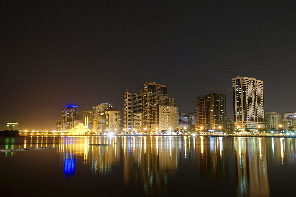 Skyline at night, Sharjah, Emirate of Sharjah, United Arab Emirates, Asia