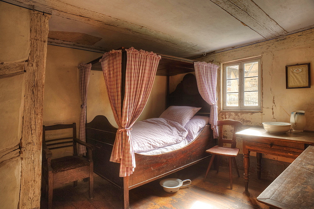 Bedchamber of a poor winegrower, Hackerhaus, mid-19th century, Franconian Open Air Museum of Bad Windsheim, Middle Franconia, Bavaria, Germany, Europe