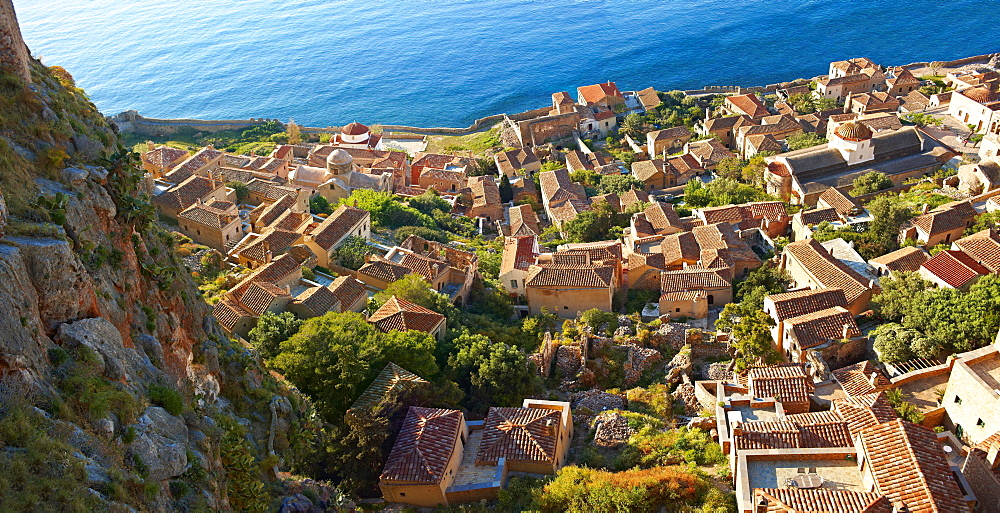 Townscape of Monemvasia, Peloponnese, Greece, Europe - 832-383385
