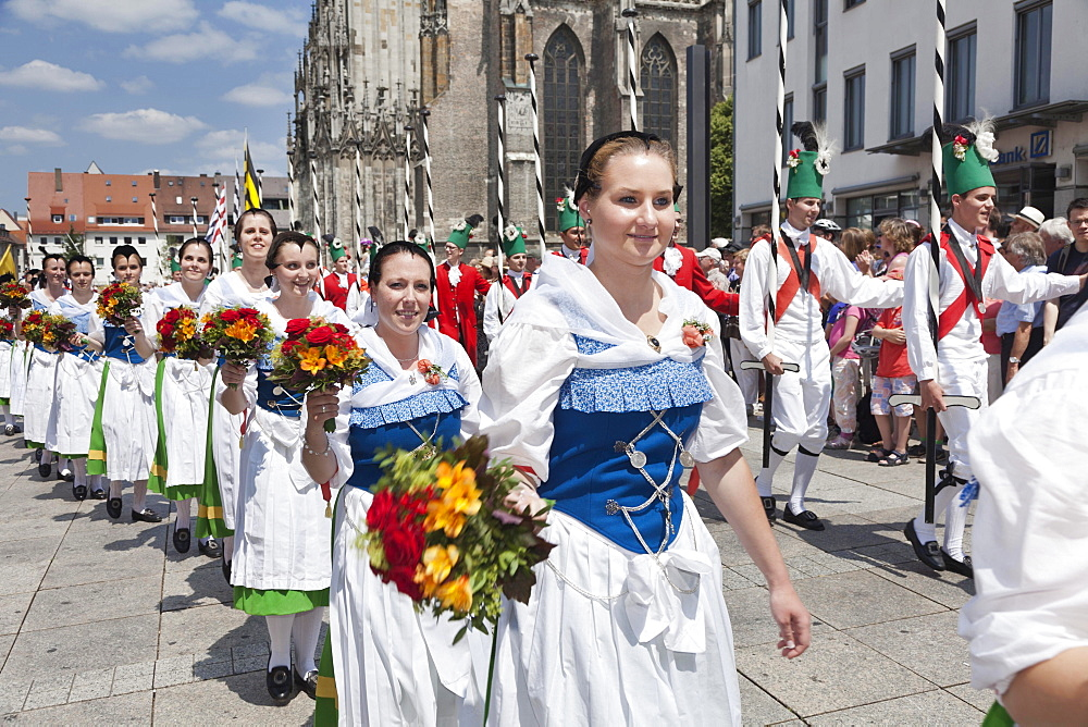 Fair maidens during a parade on Munsterplatz square, Fischerstechen or water jousting festival, Ulm, Baden-Wurttemberg, Germany, Europe