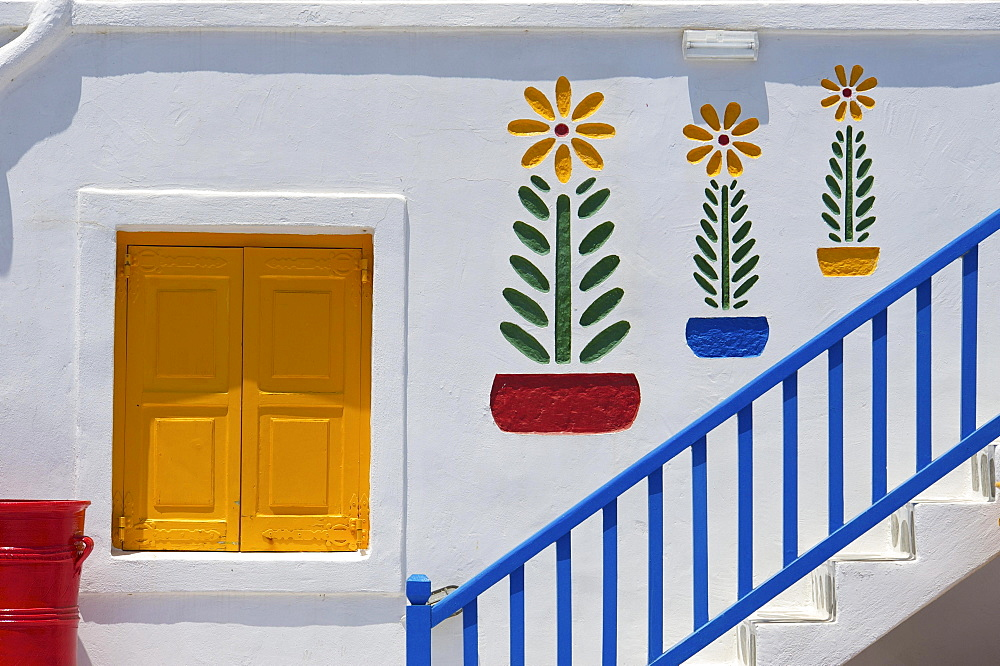 Colourful stairs of a hotel, Mykonos, Cyclades, Greece, Europe
