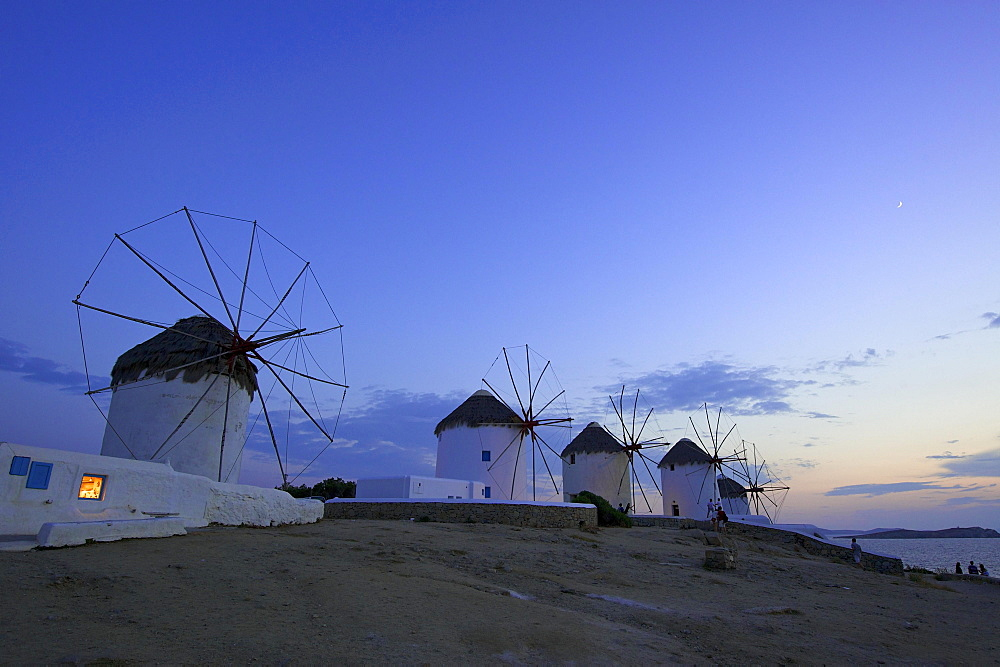 Windmills, Kato Mili, Mykonos Town, Mykonos, Cyclades, Greece, Europe