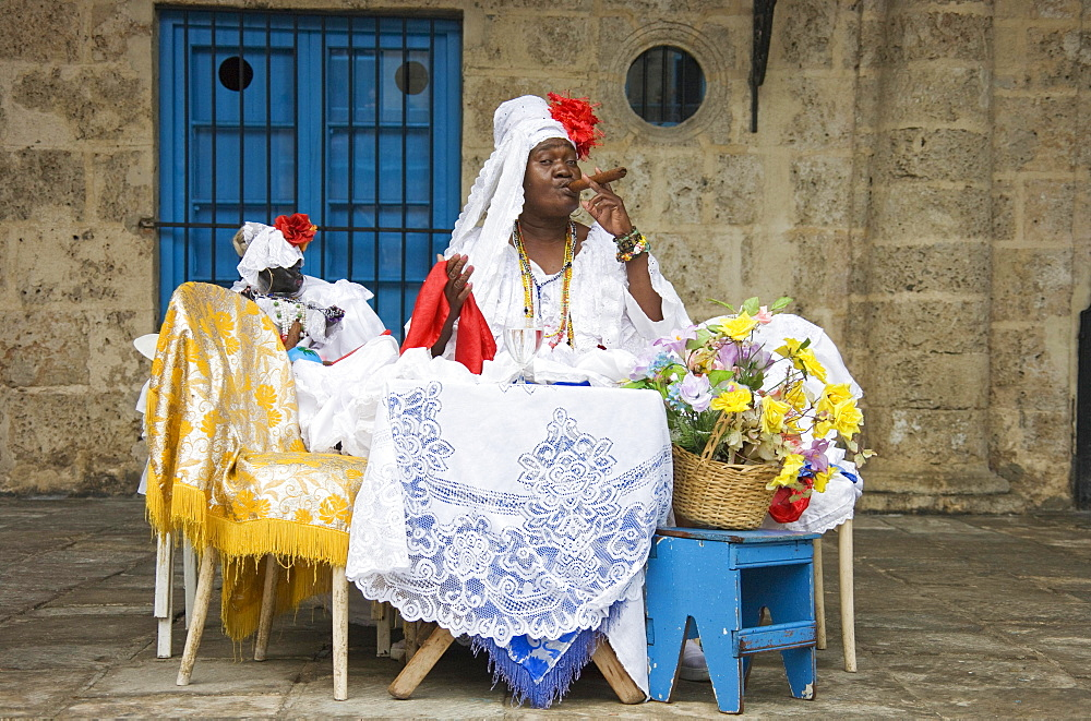 Fortune teller posing with a cigar, Havana, Cuba, Central America