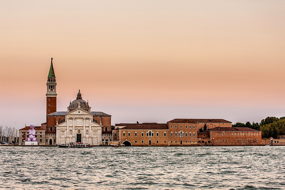 Church of San Giorgio Maggiore at dusk, Venice, Italy, Europe
