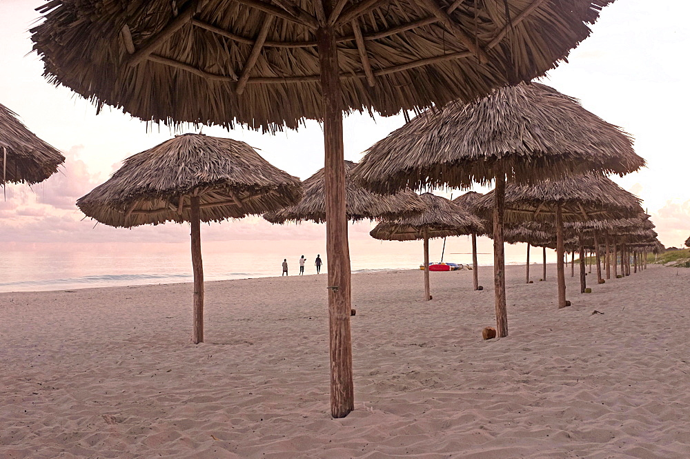 Umbrellas on the beach of Varadero, Hicacos Peninsula, Matanzas Province, Cuba, Central America