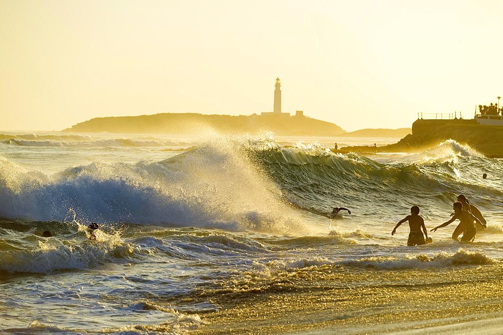 Cape Trafalgar at sunset, Los Canos de Meca, Cadiz province, Costa de la Luz, Andalusia, Spain, Europe