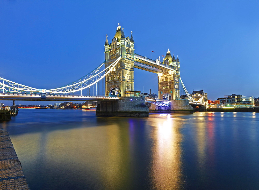Tower Bridge at dusk, London, England, United Kingdom, Europe