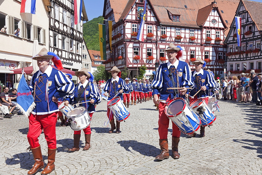 Fanfare players, historical parade, Schaferlauf festival, Bad Urach, Baden-Wurttemberg, Germany, Europe