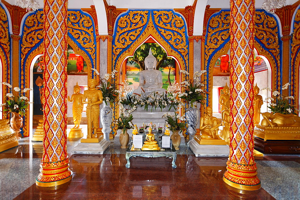 Buddhist altar and ornate columns, Wat Chalong temple, Phuket, Thailand, Asia
