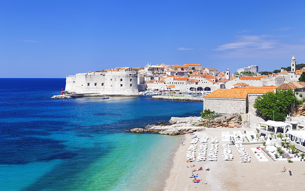 Beach and historic centre, Dubrovnik, Dalmatia, Croatia, Europe