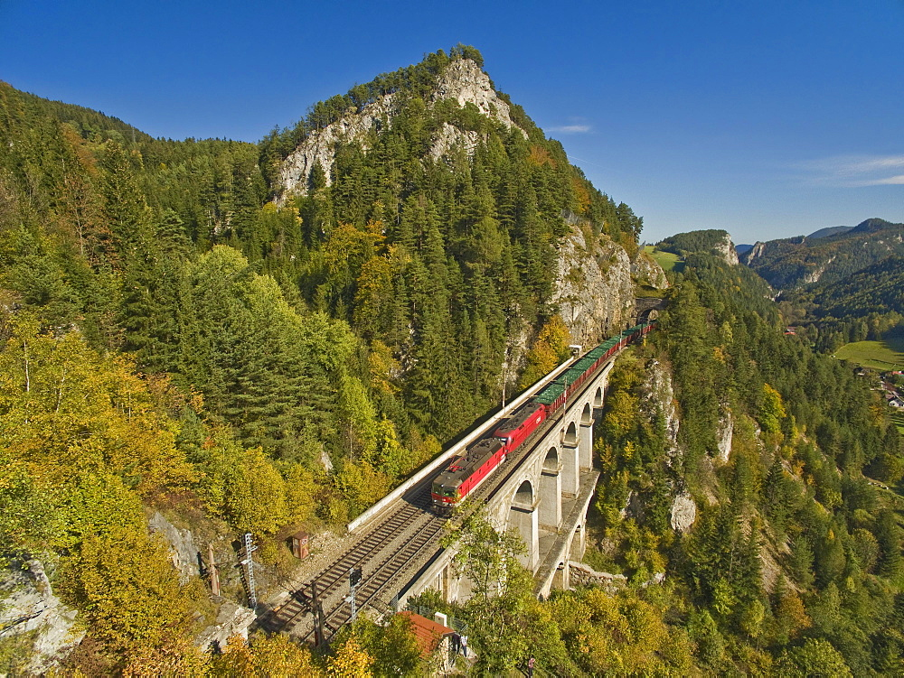 Semmering Railway runs via Krauselklause viaduct, Breitenstein, Rax region, Lower Austria, Austria, Europe