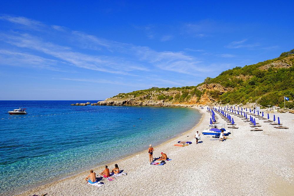 Beach Drobni pijesak, south of Budva, Adriatic coast, Montenegro, Europe