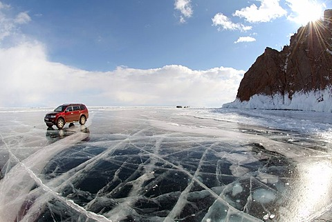 Car on frozen Lake Baikal, island Olkhon, Lake Baikal, Siberia, Russia, Eurasia