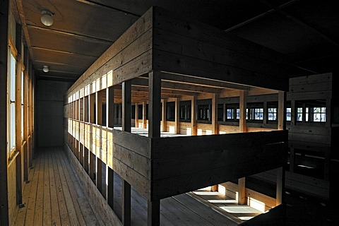 Bunk room at the concentration camp, Dachau near Munich, Bavaria, Germany, Europe