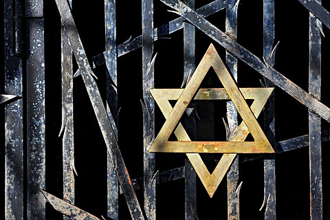Jewish star and a barred gate at the entrance to the Jewish Memorial at Dachau Concentration Camp, Dachau, near Munich, Bavaria, Germany, Europe