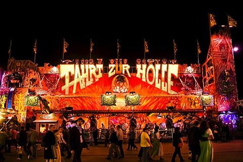 Oktoberfest, Wiesn, amusement rides, Fahrt zur Hoelle, journey to hell, ghost train at night, Munich, Bavaria, Germany, Europe