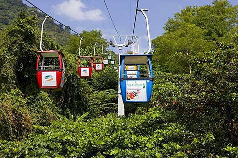 Cable car up the mountain of the Black Woman, Nui Ba Den volcanic cone, Tay Ninh, Vietnam, Asia