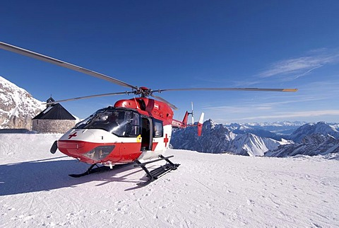 Red cross helicopter in the Zugspitze, highest point in Germany