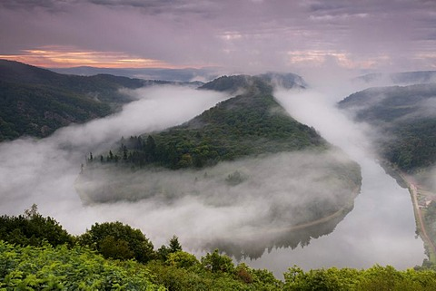 Saar Loop at sunrise with a light mist over the course of the river, Saar, Orscholz, Saarland, Germany, Europe