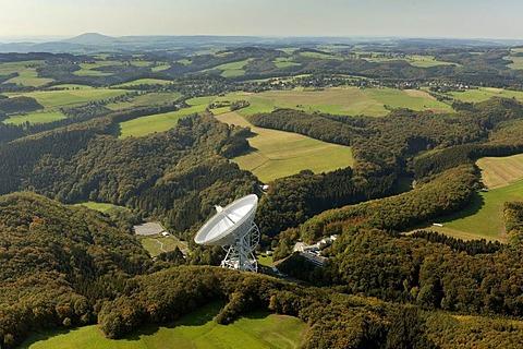 Aerial view, radio telescope, Effelsberg, Bad Muenstereifel, Eifel mountain range, North Rhine-Westphalia, Germany, Europe