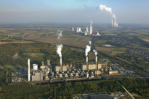 Aerial view, Neurath Power Station, owned by RWE Power AG, brown coal power station, Grevenbroich-Neurath, North Rhine-Westphalia, Germany, Europe