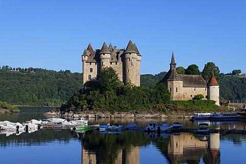 Castle of Val, impoundment hydroelectric dam of Bort les Orgues, Dordogne valley, Correze, Limousin, France, Europe