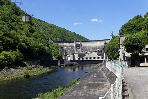 Hydroelectric dam of Chastang, Dordogne river, Correze, Limousin, France, Europe