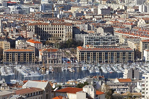 City of Marseille, Marseilles seen from basilica of Notre Dame de la Garde, Bouches-du-Rhone, France, Europe