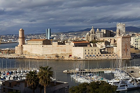 Fort Saint-Jean, entrance of the Vieux Port, old port, Marseille, Bouches-du-Rhone, Provence, France, Europe
