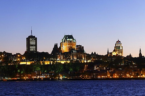 Skyline of Quebec City at dusk, St. Lawrence River, Quebec City, UNESCO World Heritage Site, Quebec, Canada