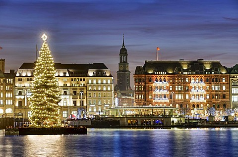 Binnenalster or Inner Alster Lake at Christmas time with Alster fir tree and Church of St. Michael, Michaeliskirche, Michel, Hamburg, Germany, Europe
