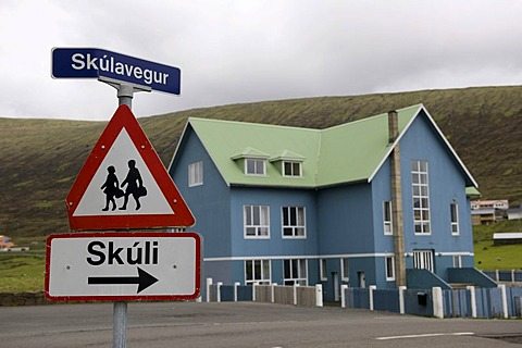 School with a warning sign, Faroe Islands, island group in the North Atlantic, Denmark, Northern Europe