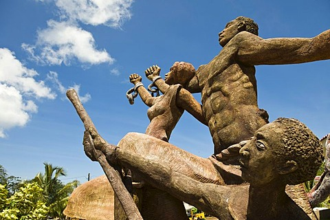 Sculpture celebrating the abolishment of slavery, Big Corn Island, Caribbean Sea, Nicaragua, Central America