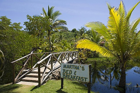Bed and breakfast hotel in a palm grove, Big Corn Island, Caribbean Sea, Nicaragua, Central America