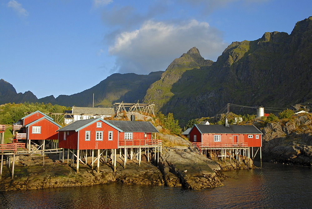 Typical red rorbuer huts, rorbu, at the coast of the Norwegian Sea, mountains at back, ≈, Moskenes, SorvÂgen, island of Moskenesoy, Moskenesoy, Lofoten archipelago, Nordland, Norway, Europe