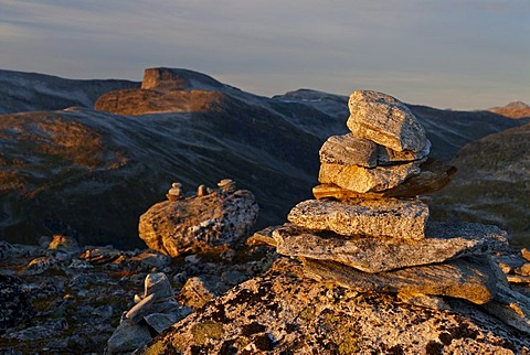 Typical cairns on the top of the mountain Dalsnibba in the evening light, MarÂk, Marak, Geiranger, Moere og Romsdal, Norway, Europe