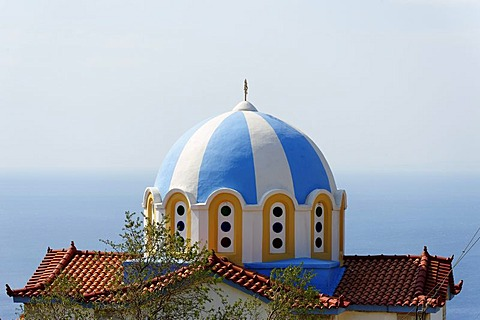 Painted dome of a church, Marathocampos, Samos Island, Aegean Sea, southern Sporades islands, Greece, Europe