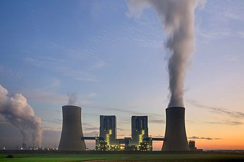 Neurath brown coal power station with optimised plant technology, Grevenbroich, North Rhine-Westphalia, Germany, Europe
