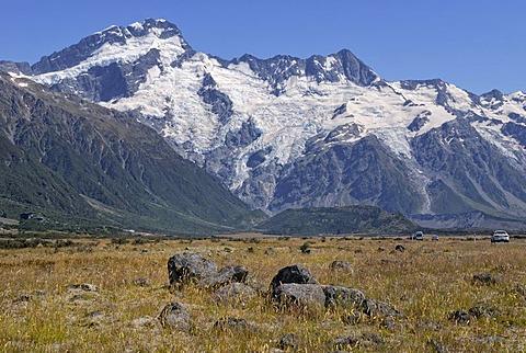 Huddestone Glacier, Stocking Glacier and Mueller Glacier, Mount Cook National Park, South Island, New Zealand