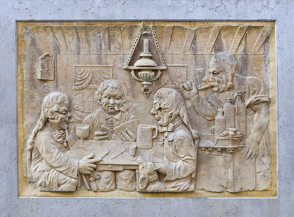 Stone tablet, relief, card players in the inn, Koblenz, Rhineland-Palatinate, Germany, Europe, PublicGround