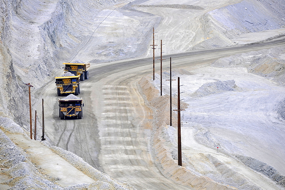Special trucks, Bingham Canyon Mine or Kennecott Copper Mine, largest man-made pit in the world, Oquirrh Mountains, Salt Lake City, Utah, United States of America, USA, PublicGround